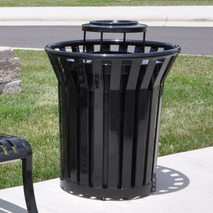 166-1248 32 Gal. Steel Trash Receptacle
