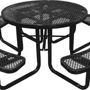 166-1001 Black Expanded Metal Round Picnic Table