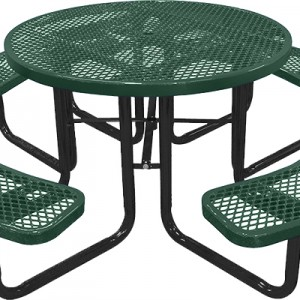 166_1001 Green Expanded Metal Round Picnic Table