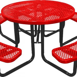 166_1001 Red Expanded Metal Round Picnic Table