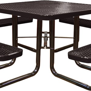 166_1007 Black Expanded Metal Square Picnic Table