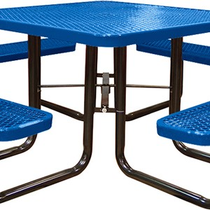 166_1007 Blue Expanded Metal Square Picnic Table