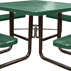 166_1007 Green Expanded Metal Square Picnic Table