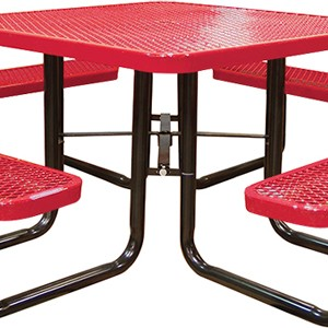 166_1007 Red Expanded Metal Square Picnic Table