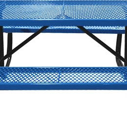 166_1018 Blue Rectangular Expanded Metal Picnic Table