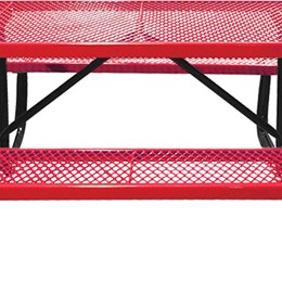 166_1018 Red Rectangular Expanded Metal Picnic Table