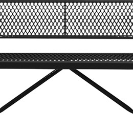 166_1046 Black Expanded Metal Bench with Back