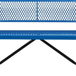 166_1046 Blue Expanded Metal Bench with Back