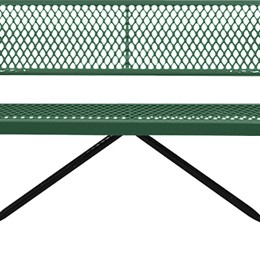 166_1046 Green Expanded Metal Bench with Back