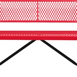 166_1046 Red Expanded Metal Bench with Back