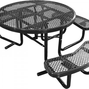 166_1121 Black Expanded Metal Round Picnic Table