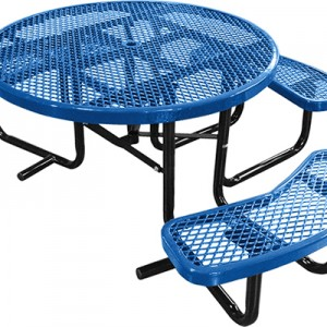 166_1121 Blue Expanded Metal Round Picnic Table