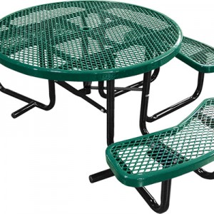 166_1121 Green Expanded Metal Round Picnic Table