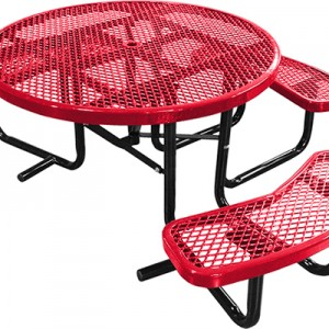 166_1121 Red Expanded Metal Round Picnic Table