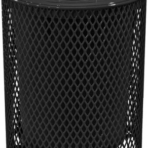 166_1327 Black 32 Gal Expanded Metal Receptacle