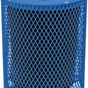 166_1327 Blue  32 Gal Expanded Metal Receptacle
