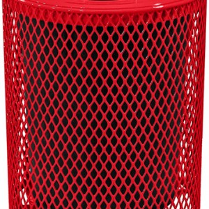 166_1327 Red 32 Gal Expanded Metal Receptacle